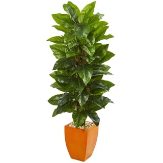 Nearly Natural 5.5-foot Large Leaf Philodendron Real Touch Artificial Plant in Orange Planter