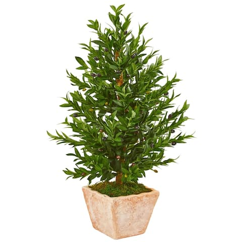 Nearly Natural 35-inch Olive Cone Topiary UV Resistant Indoor/Outdoor Artificial Tree in Terra Cotta Planter
