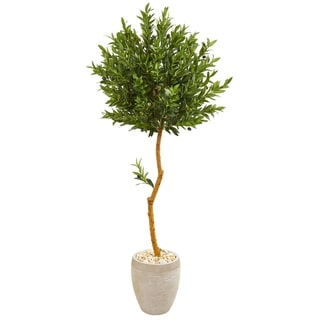Nearly Natural 5.5-foot Olive Topiary UV Resistant Artificial Tree in Sand Colored Planter