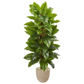 Nearly Natural 58-inch Real Touch Large Leaf Philodendron Artificial Plant in Sand Stone Planter