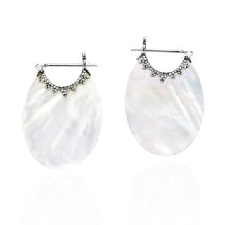 Handmade Understated Bali Trim Oval Mother of Pearl Basket Hoop Lock .925 Silver Earrings (Thailand)