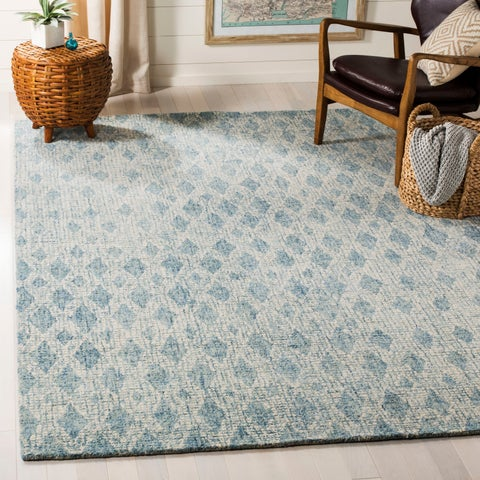 Safavieh Handmade Abstract Modern & Contemporary Abstract - Ivory / Blue Wool Rug - 9' x 12' - 9' x 12'
