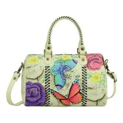 Women's ANNA by Anuschka Hand Painted All Round Zip Satchel 8319 Floral Paradise