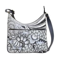 Women's ANNA by Anuschka Hand Painted Crossbody Hobo 8322 Patchwork Pewter