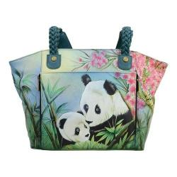 Women's ANNA by Anuschka Hand Painted East-West Organizer Tote 8315 Lovable Pandas