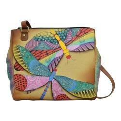 Women's ANNA by Anuschka Hand Painted Multi Compartment Organizer Tote 8316 Dancing Dragonflies
