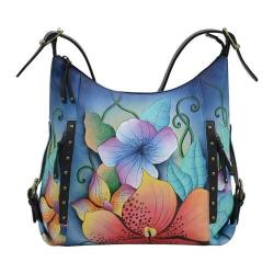 Women's ANNA by Anuschka Hand Painted Shoulder Hobo 8311 Midnight Floral