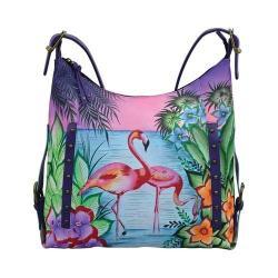 Women's ANNA by Anuschka Hand Painted Shoulder Hobo 8311 Tropical Flamingos