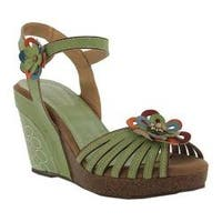 Women's L'Artiste by Spring Step Honiepie Wedge Sandal Mint Green Leather