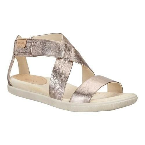 bb6abe8f44d Shop Women s ECCO Damara Strappy Sandal Warm Grey Metallic Cow Leather - Free  Shipping Today - Overstock - 19964587