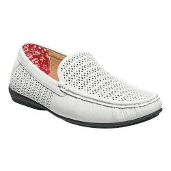 Men's Stacy Adams Cicero Perfed Moc Toe Loafer 25172 White Synthetic