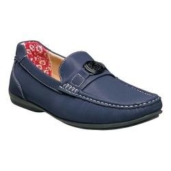 Men's Stacy Adams Cyrus Moc Toe Bit Loafer 25173 Navy Synthetic
