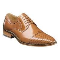 Men's Stacy Adams Sanborn Cap Toe Oxford 25156 Tan Buffalo Leather
