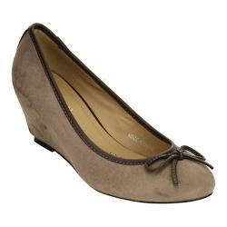 Women's Beston Cactus-1 Wedge Heel Pump Grey Faux Suede