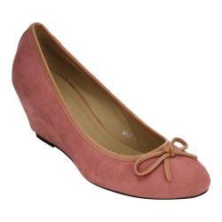 Women's Beston Cactus-1 Wedge Heel Pump Pink Faux Suede