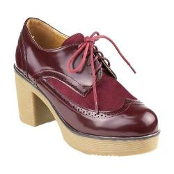 Women's Beston Redfish-3 Wing Tip Oxford Wine Faux Leather/Faux Suede