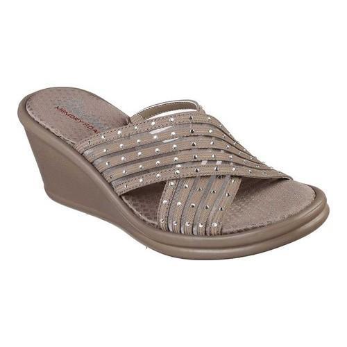 e6b0bb1bff89 Shop Women s Skechers Rumblers Flashies Slide Wedge Sandal Taupe ...