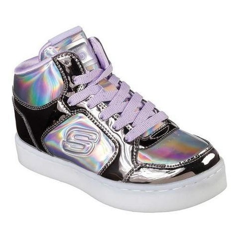 Girls' Skechers S Lights Energy Lights Shiny Bright High Top Gun Metal/Purple