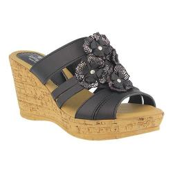 Women's Spring Step Rositsa Wedge Slide Black Leather