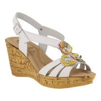 Women's Spring Step Teomina Wedge Slingback White Multi Leather