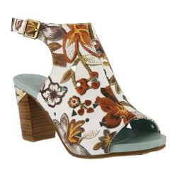Women's L'Artiste by Spring Step Tapestry Open Toe Bootie White/Brown Multi Leather