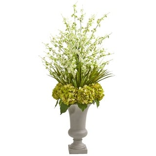 Nearly Natural Green/White Artificial Cherry Blossom & Hydrangeas Arrangement in Sand-colored Urn
