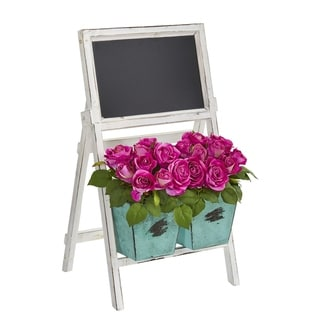 """26"""" Rose Artificial Arrangement in Farmhouse Stand with Chalkboard"""