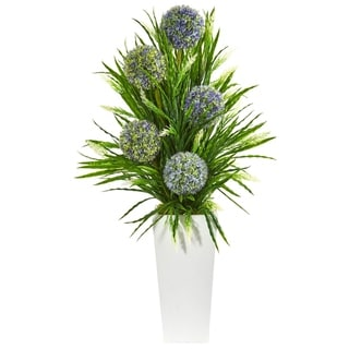 Nearly Natural White/Green/Blue Ball Flower and Grass Artificial Arrangement with Planter