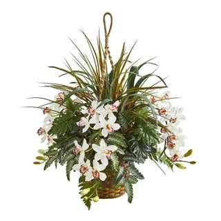 "29"" Cymbidium Orchid and Mixed Greens Artificial Plant Hanging Basket"