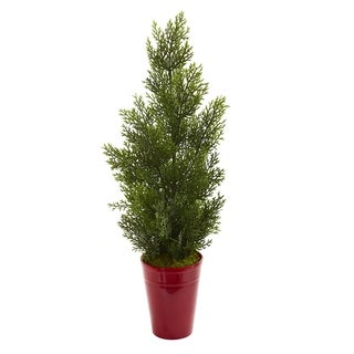 "27"" Mini Cedar Artificial Pine Tree in Decorative Planter (Indoor/Outdoor)"