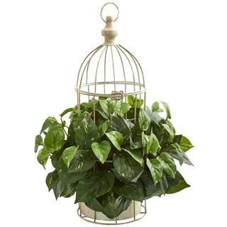 Pothos Artificial Plant in Decorative Bird Cage