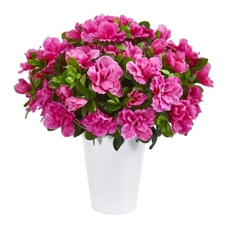 Azalea Artificial Plant in White Planter