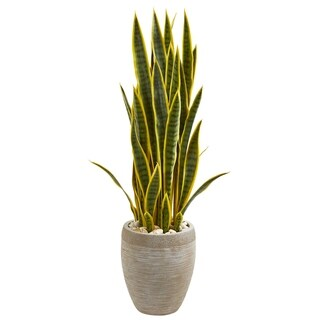Nearly Natural 3.5-foot Sansevieria Artificial Plant in Sand Colored Planter