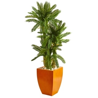 Nearly Natural Green Triple Cycas with Orange Planter Artificial Plant