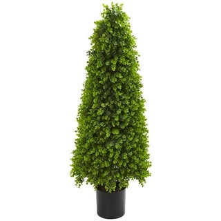 Nearly Natural 4-foot Indoor/ Outdoor Artificial Eucalyptus Topiary Tree