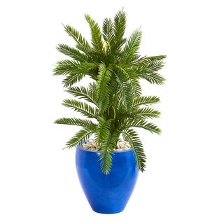 Nearly Natural Double Cycas 3-foot Artificial Plant in Blue Planter