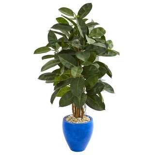 Nearly Natural 53-inch Artificial Rubber Tree in Blue Planter