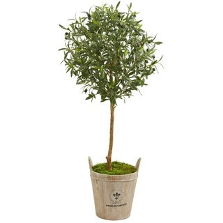 Nearly Natural Green 46-inch Artificial Olive Tree in Farmhouse Planter