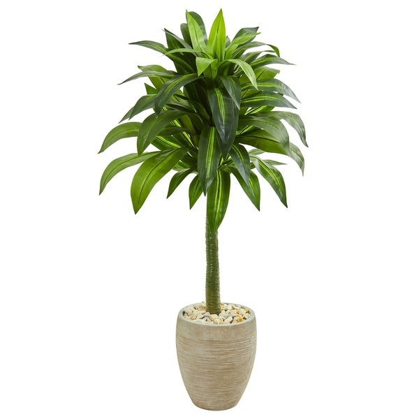 Nearly Natural Dracaena 52-inch Artificial Plant in Sand-colored Planter