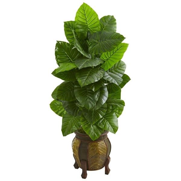 Nearly Natural Green Taro Artificial Plant in Decorative Planter