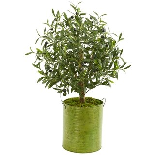 Nearly Natural Olive Artificial Tree in Green Metal Planter