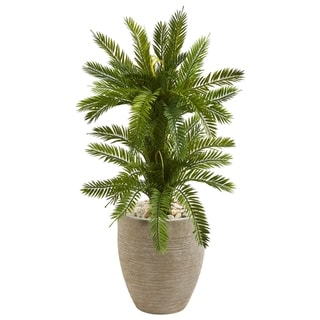Nearly Natural 3-foot Double Cycas Artificial Plant in Sand Colored Planter