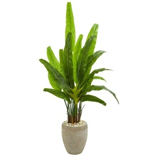 Nearly Natural 64-inch Travelers Palm Artificial Tree in Sand Colored Planter