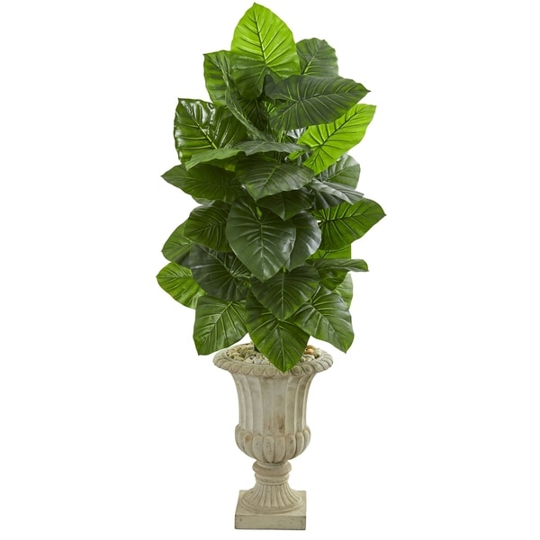 Nearly Natural Taro 5-foot Artificial Plant in Sand-finished Urn