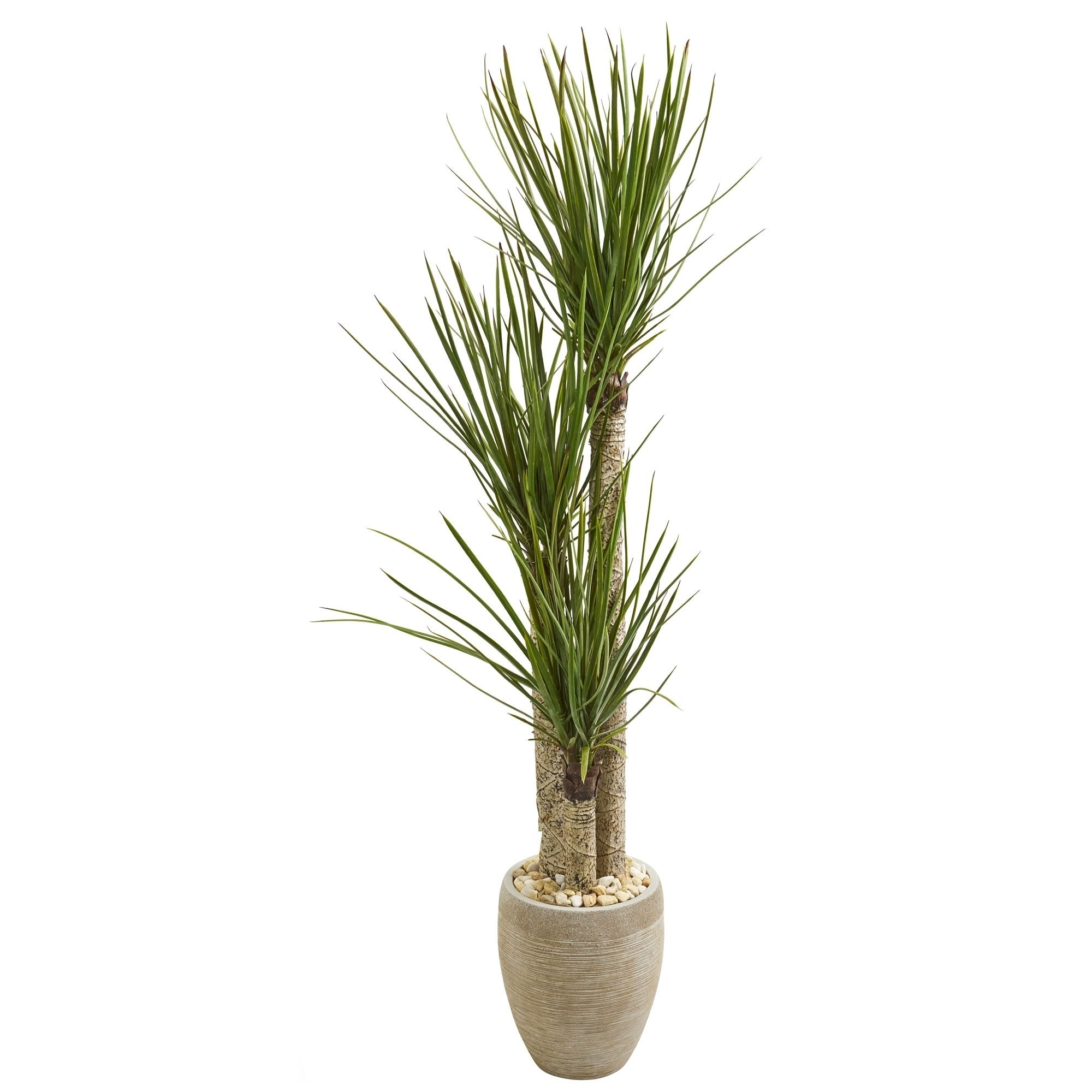 Nearly Natural Artificial Yucca Tree In Sand Colored Planter Overstock 23500151