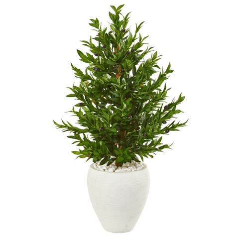 Nearly Natural 3.5-foot Olive Cone Topiary Indoor/Outdoor UV-resistant Artificial Tree in White Planter