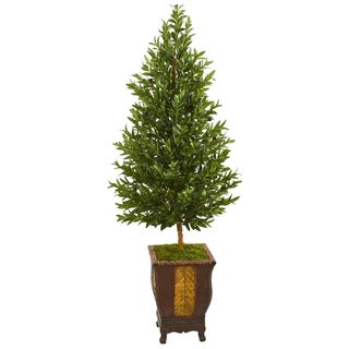 Nearly Natural Olive Cone Topiary Artificial Tree in Decorative Planter