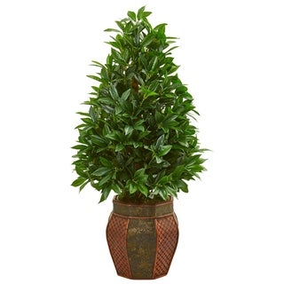 Link to Nearly Natural 3.5-foot Bay Leaf Cone Topiary Artificial Tree in Decorative Planter Similar Items in Decorative Accessories