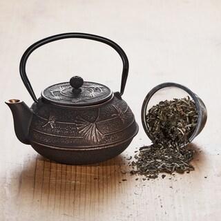 "Black/Copper Cast Iron ""Ginkgo"" Teapot, 22 Oz."