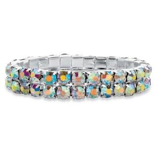 "Silver Tone Stretch Bracelet (12mm), Aurora Borealis Crystal, 7"""